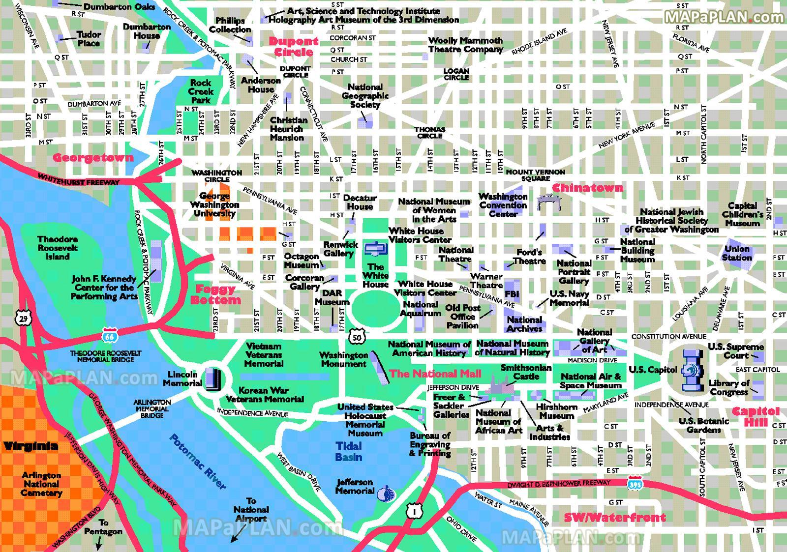 Cartina Washington.Washington Dc Attrazioni Mappa Washington Dc Attrazioni Turistiche Mappa Distretto Di Columbia Usa