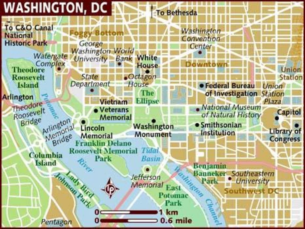 Cartina Washington.Mappa Della Zona Di Washington Dc Washington Cartina Della Zona Distretto Di Columbia Usa